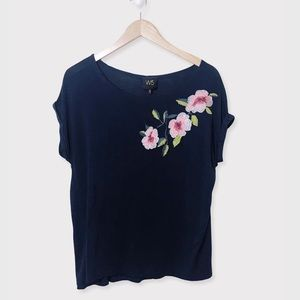 ANTHROPOLOGIE W5 Blue Floral Embroidered T-Shirt